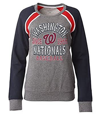 MLB Washington Nationals Women's French Terry Crew Neck Sweatshirt with Contrasting Sleeves, Gray, Small