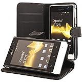 ECENCE Sony xperia go ST27i Coque de protection Housse Pochette wallet Case noir + protection d'écran 11010204