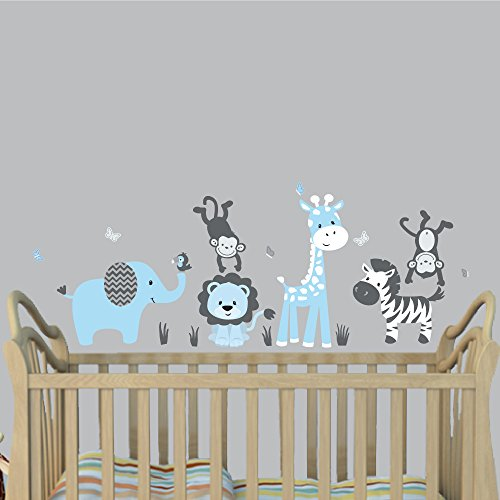 Mini Baby Blue, Jungle Animal Wall Decals, Jungle Stickers, Animal Stickers