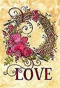 Valentine's Day Wreath Garden Flag Love Chickadee Double Sided 12.5