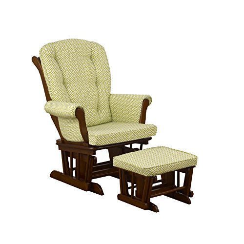 Cotton Tale Designs Glider Green Lattice on Espresso with Ottoman, Periwinkle