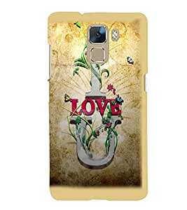 Printvisa Premium Back Cover Brown Background Love Quote Design For Huawei Honor 7