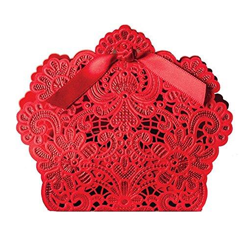 Lot de 50 sachets cadeau de mariage découpé au laser avec ruban en soirée, mariage, Chocolat bonbons et boîtes cadeau (rouge)