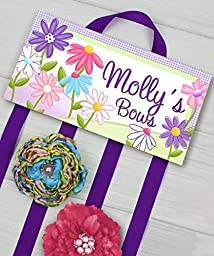 Pretty Purple Garden Flowers HairBow Holder - Bows Clippies Organizer - Girls Personalized Hair Bow Holder HB0001