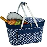 Picnic at Ascot Large Family Size Insulated Folding Collapsible Picnic Basket Cooler with Sewn in Frame - Trellis Blue