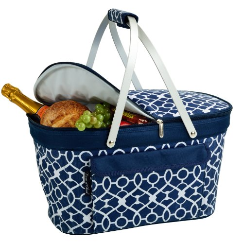 Picnic at Ascot Large Family Size Insulated Folding Collapsible Picnic Basket Cooler with Sewn in Frame - Trellis Blue (Bbq Heat Blanket compare prices)