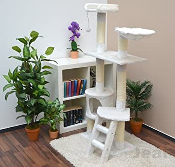 arbre chat en peluche peluche sisal blanc 140 cm animalerie m76. Black Bedroom Furniture Sets. Home Design Ideas