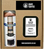 Aerobie AeroPress Coffee Maker & 250 g Rave Coffee Signature Blend Ground Coffee Gift Box