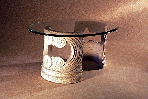 Marmor Couchtisch im Wohnzimmer mit Glas Modell - Ebisu - Größe: oval cm 100 x 65 - Höhe cm 40 - Finish: Effekt Stein
