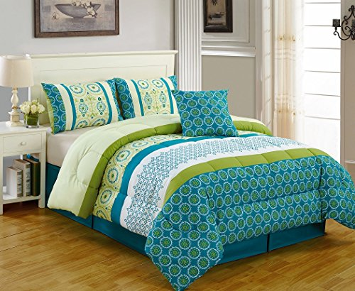 5-Piece Multi Color Printed Microfiber Comforter Set Queen Size