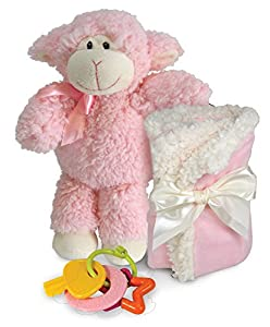 Stephan Baby Plush Sherpa Fleece Wooly Lamb and Security Blanket Gift Set, Pink