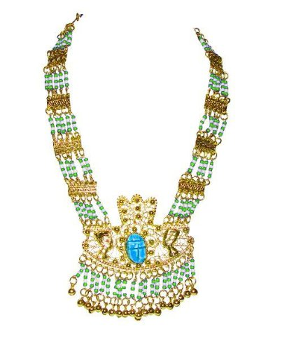 Green Beaded Pendant Necklace,'Royal Scarab Pendant'