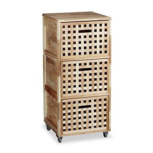 Relaxdays-Rollcontainer-Holz-mit-3-Fchern-Walnuss-HBT-ca-915-x-404-x-404-cm-Utensilienwagen-Rollregal-Wschebox-Holz-Schrank-rollbarer-Schubladenschrank-natur