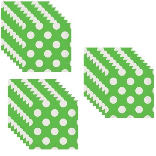 Lime Green Polka Dot Beverage Napkins - 48 Pieces