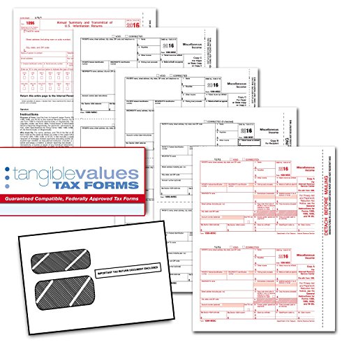 Tangible Values 1099 Misc Laser Forms (4-Part) Kit with Envelopes for 25 Individuals (2016) (1099 Forms And Software compare prices)