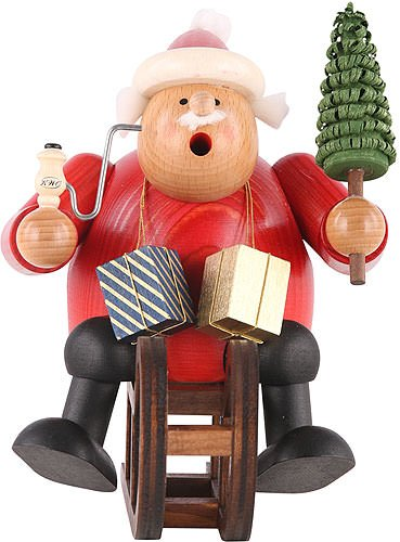 German Incense Smoker Santa Claus with sleigh - 18 cm / 7 inch - Authentic German Erzgebirge Smokers - KWO