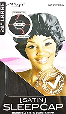 """Black, Satin Sleeping Cap, Breathable and Comfortable Material, Elastic Band, Large Size 20"""" to Accommodate Hair Curlers and Rollers, Keeps Hair Styles in Place and Helps to Prevent Breakage"""