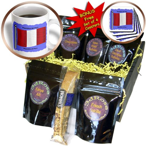 Cgb_58709_1 777Images Flags And Maps - South America - Peruvian Flag Waving On A Violet Blue Background. Republic Of Peru In English And Spanish - Coffee Gift Baskets - Coffee Gift Basket