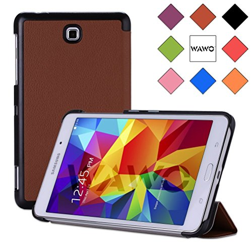 Wawo Creative Tri-Fold Cover Case For Samsung Galaxy Tab 4 7.0 Inch Tablet - Coffee front-999735