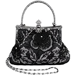MG Collection Ginny Seed Beaded Rose Evening Purse Clutch Bag, Black, One Size