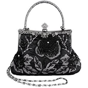 MG Collection Black Exquisite Antique Seed Beaded Rose Evening Clutch Handbag