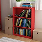 Ameriwood 3-shelf Bookcase, Multiple Finishes. Ideal for Dorm Room, Home Office, Living Room or Any Room. (Ruby Red)