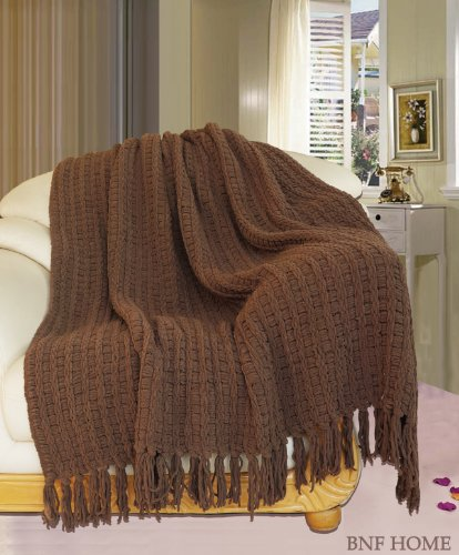 "Bnf Home Space Yarn Knitted Throw Couch Cover Sofa Blanket (Chocolate/50X60"") front-655775"