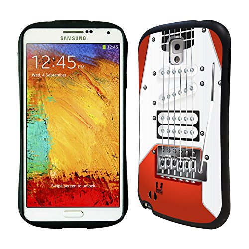 Head Case Designs Orange Electric Guitar Hybrid Gel Back Case For Samsung Galaxy Note 3 N9000 N9002 N9005