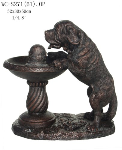 Garden Patio Outdoor Indoor St Bernard Dog Fountain Statue Sculpture (Medium Size)