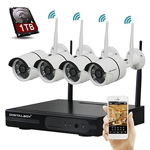 Purchase Digitalboy Auto-Pair 4CH Security 720P HD Network NVR Wireless Security Cameras System with...