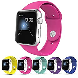 Apple Watch Band,Teslasz Soft Silicone Replacement Sport Wristbands Straps for Apple Watch (Rose pink 42 MM)