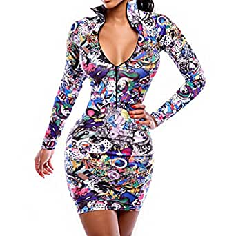 Amazon.com: Zipper Collar Sexy Vestidos Bodycon Nightclub Bandage