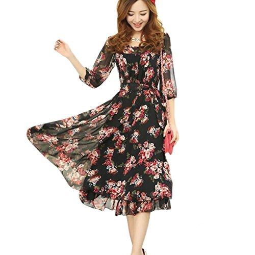 FOREVER YUNG Women's Fashion Bohemian Style High Waist Floral Print Dress Black M
