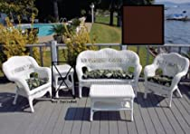 "Hot Sale White Sahara Patio Set - Rave Chocolate Cushions (White / Rave Chocolate) (35""H x 53""W x 26""D)"