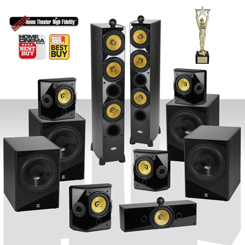"Crystal Acoustics T3-7.4-Ul Referentce Home Theater System With Thx® Ultra2 Fronts & 4 Thx Ultra2 12"" Subwoofers"