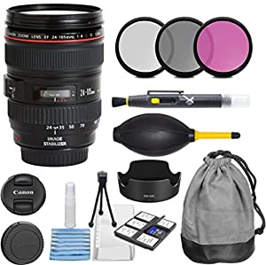 Canon EF 24-105mm f/4 L IS USM Lens for Canon EOS Digital SLR Cameras with 3pc Filter Kit (UV, CPL, FLD) + Lens Pouch + Hood + Cleaning Kit - International Version