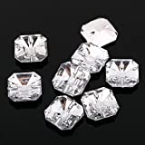 AB4 20pcs Sew on Diamante SQUARE BUTTONS Sparkle Acrylic Crystal Rhinestone 13mm