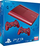 Red Sony PlayStation 3 Super Slim Console 500GB with 2 red DualShock 3 Controllers