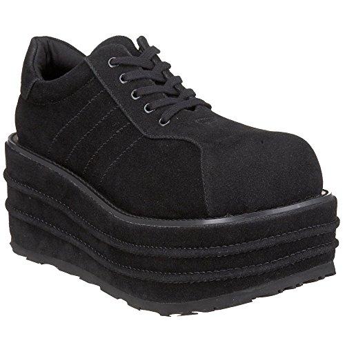 """DEMONIA TEMPO-08 Men's 3 1/2"""" Platform Veggie Punk Faux Suede Lace Up Shoes"""