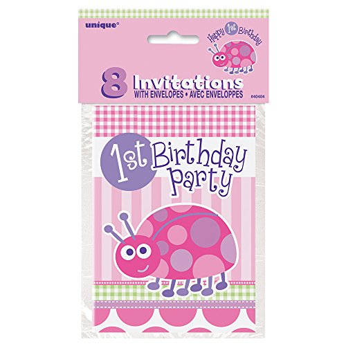 Ladybug First Birthday Invitations, 8ct