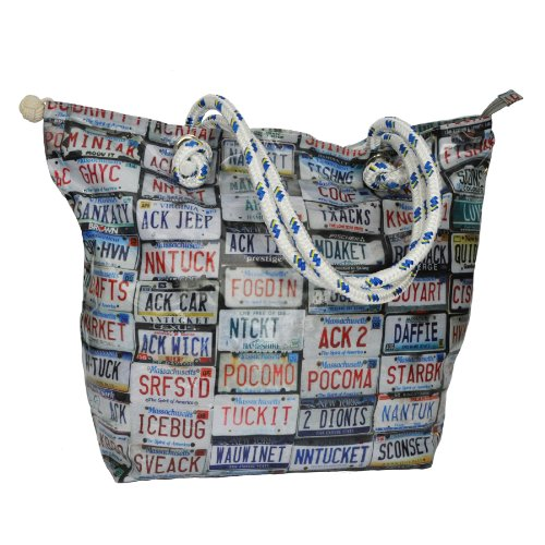 Tricia.Deck Beach Tote - Vinyl Coated Cotton Printed License Plate Photo Collage