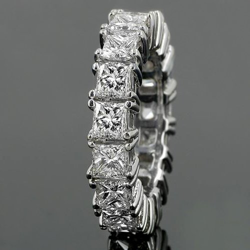 14K White Gold Womens Diamond Eternity Band 5.50