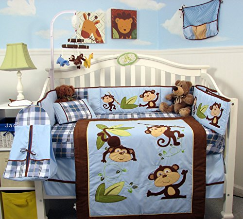 SoHo-Playful-Monkey-Baby-Crib-Nursery-Bedding-Set-14-pcs