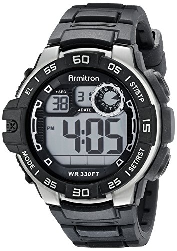 Armitron Sport Men's 40/8343BLK Digital Chronograph Black Silicone Strap Watch