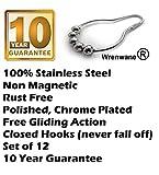 Wrenwane® Shower Curtain Hooks - 100% Stainless Steel, Polished Chrome, Set of 12 Rings
