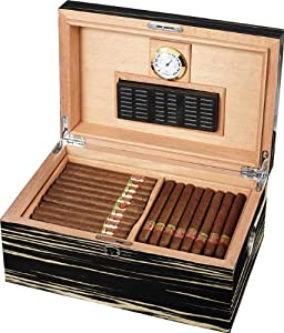 Visol Products Tree Root Cigar Humidor, Black and White, Holds 120 Cigars