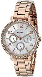 Fossil Women's ES3757 Jacqueline Crystal-Accented Rose Gold-Tone Stainless Steel Watch