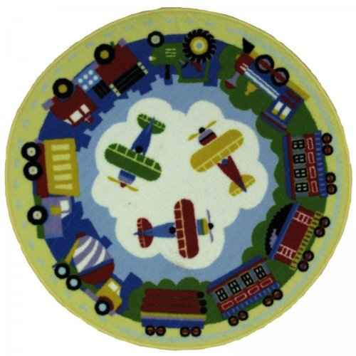 "Trucks and Planes Rug - 39"" Round"
