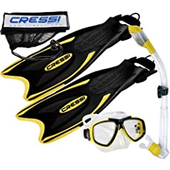Buy Cressi Palau Long Fins, Focus Mask, Dry Snorkel, Snorkeling Gear Package by Cressi