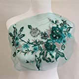 3D Embroidered Patches Nail Bead Tulle Applique Flower Patch for Clothing Wedding Dress Lace Fabric DIY Decoration(Green) (Color: Color E)